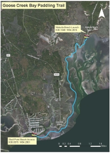Map of the Goose Creek Paddling Trail