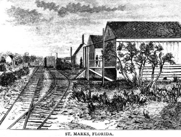 Engraving of railway depot - St. Marks(ca 1876)